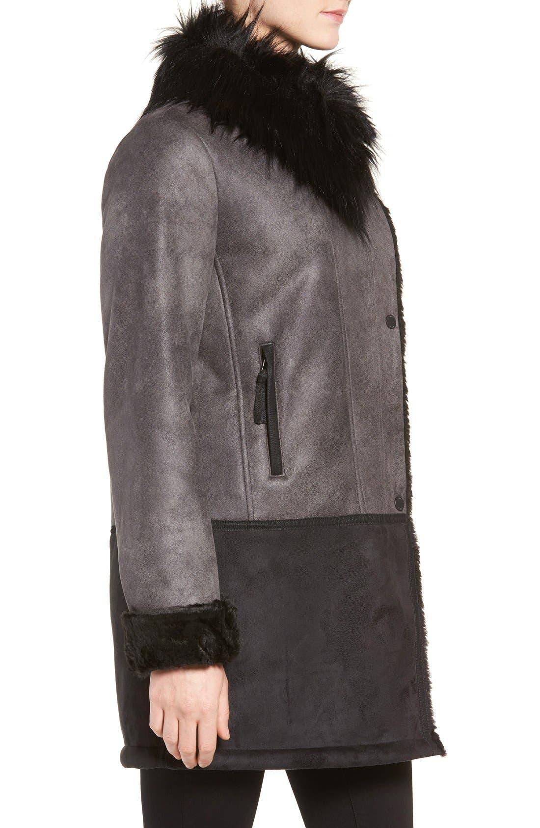 Alternate Image 3  - Tahari Faux Shearling Coat with Faux Fur Trim