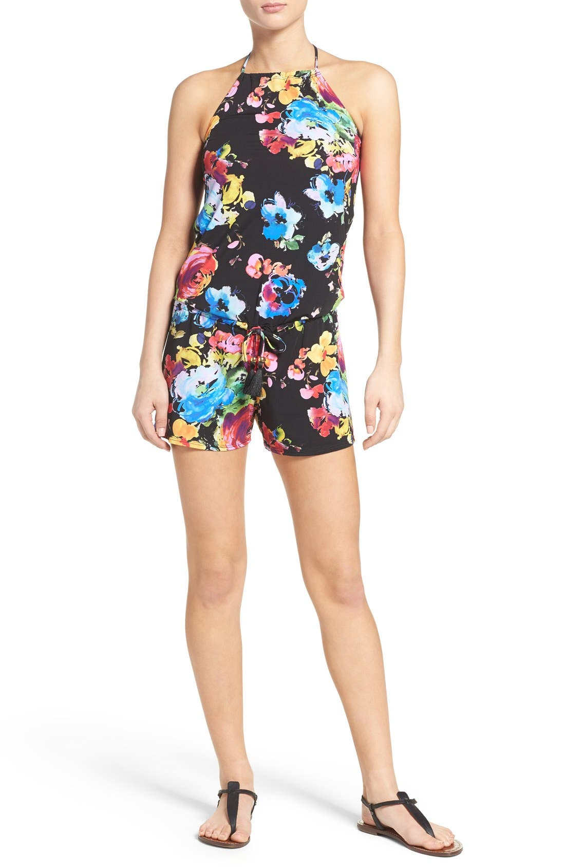 PILYQ Floral Halter Cover-Up Romper