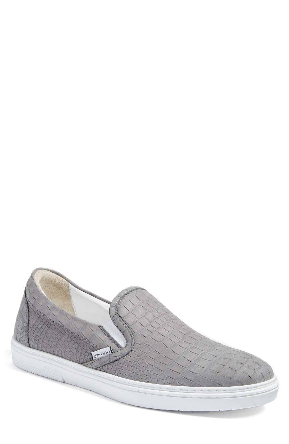 JIMMY CHOO 'Grove' Croc Embossed Slip-On Sneaker