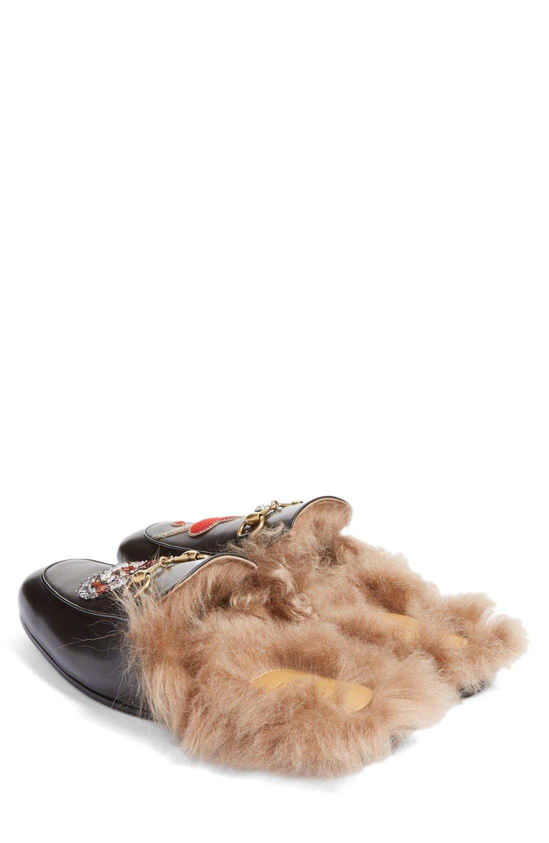 Alternate Image 4  - Gucci Princetown Genuine Shearling Lined Mule Loafer (Men)
