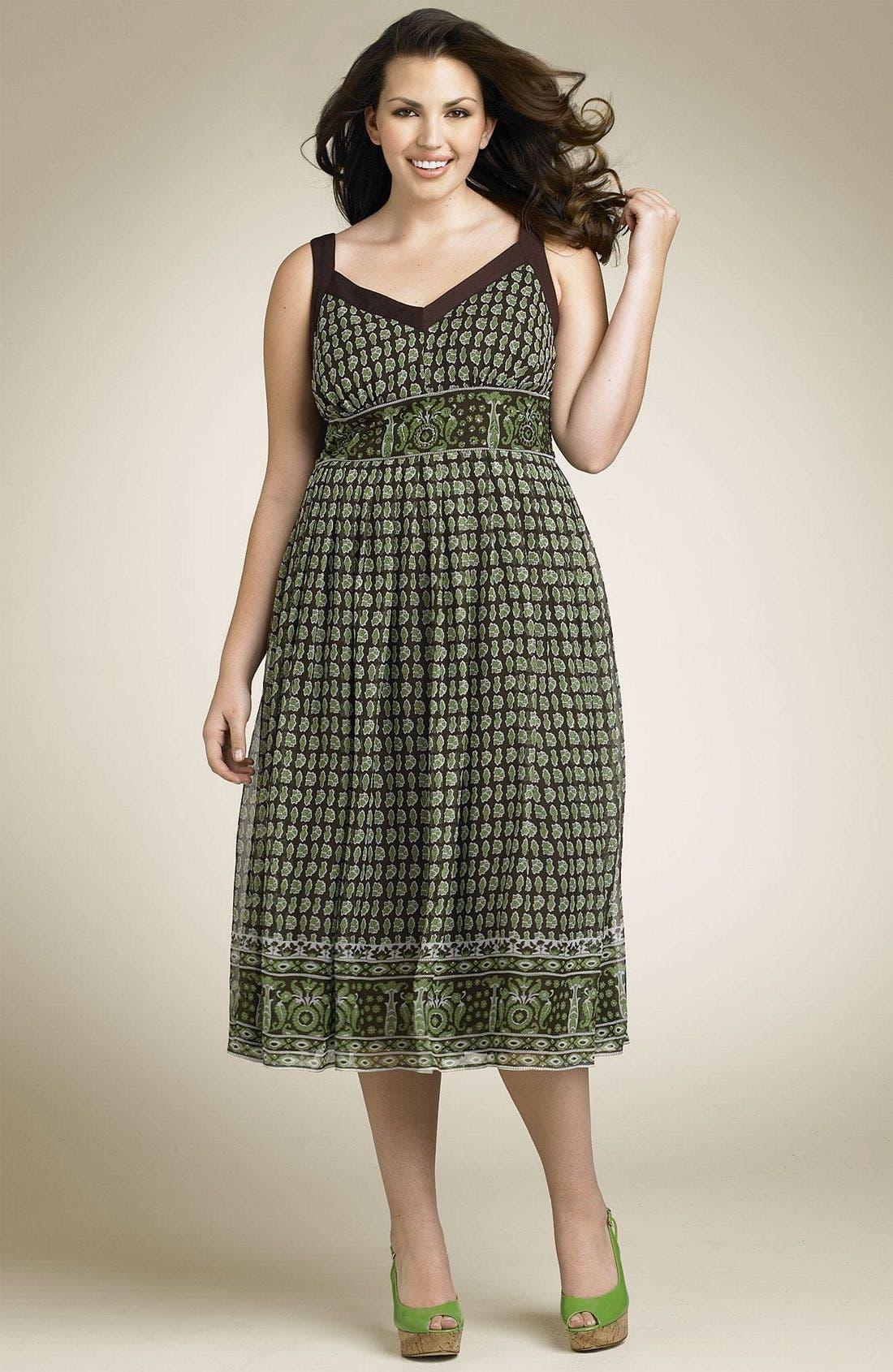 Main Image - Robbie Bee Border Silk Chiffon Dress (Plus)