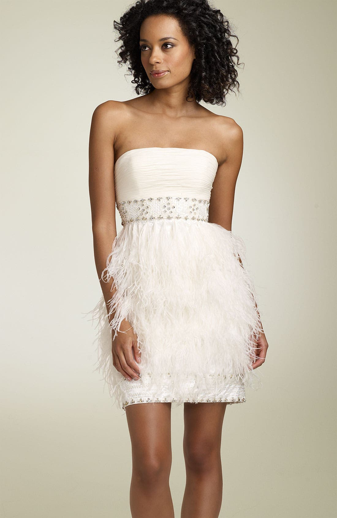 Main Image - Sue Wong Strapless Dress with Ostrich Feathers