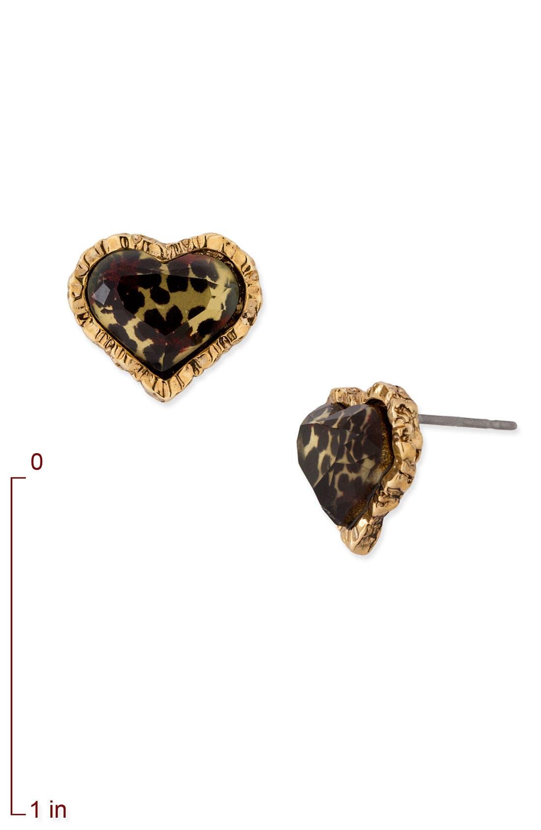 Alternate Image 2  - Betsey Johnson Leopard Heart Stud Earrings