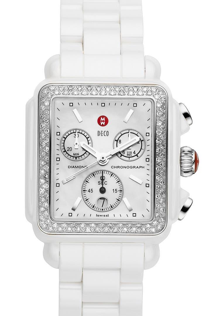 Michele Deco Diamond Ceramic Bracelet Watch 33mm X 46mm