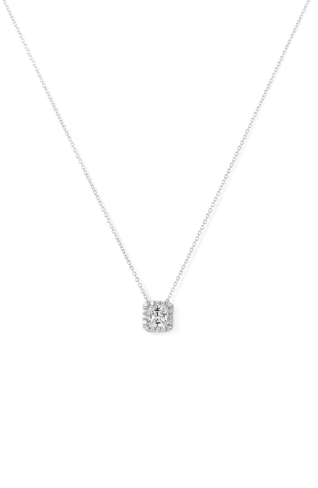 Main Image - Nordstrom Princess Cut Pavé Pendant Necklace