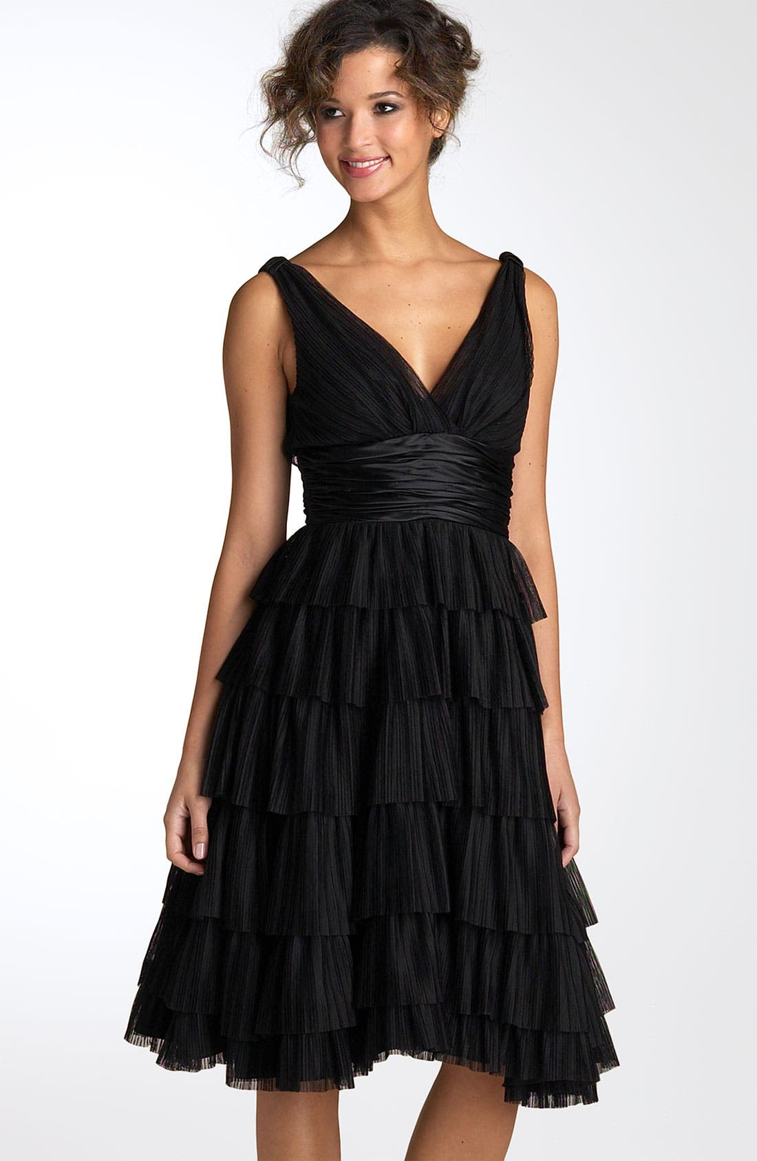 Main Image - Maggy London Tiered Mesh Dress with Charmeuse Waist