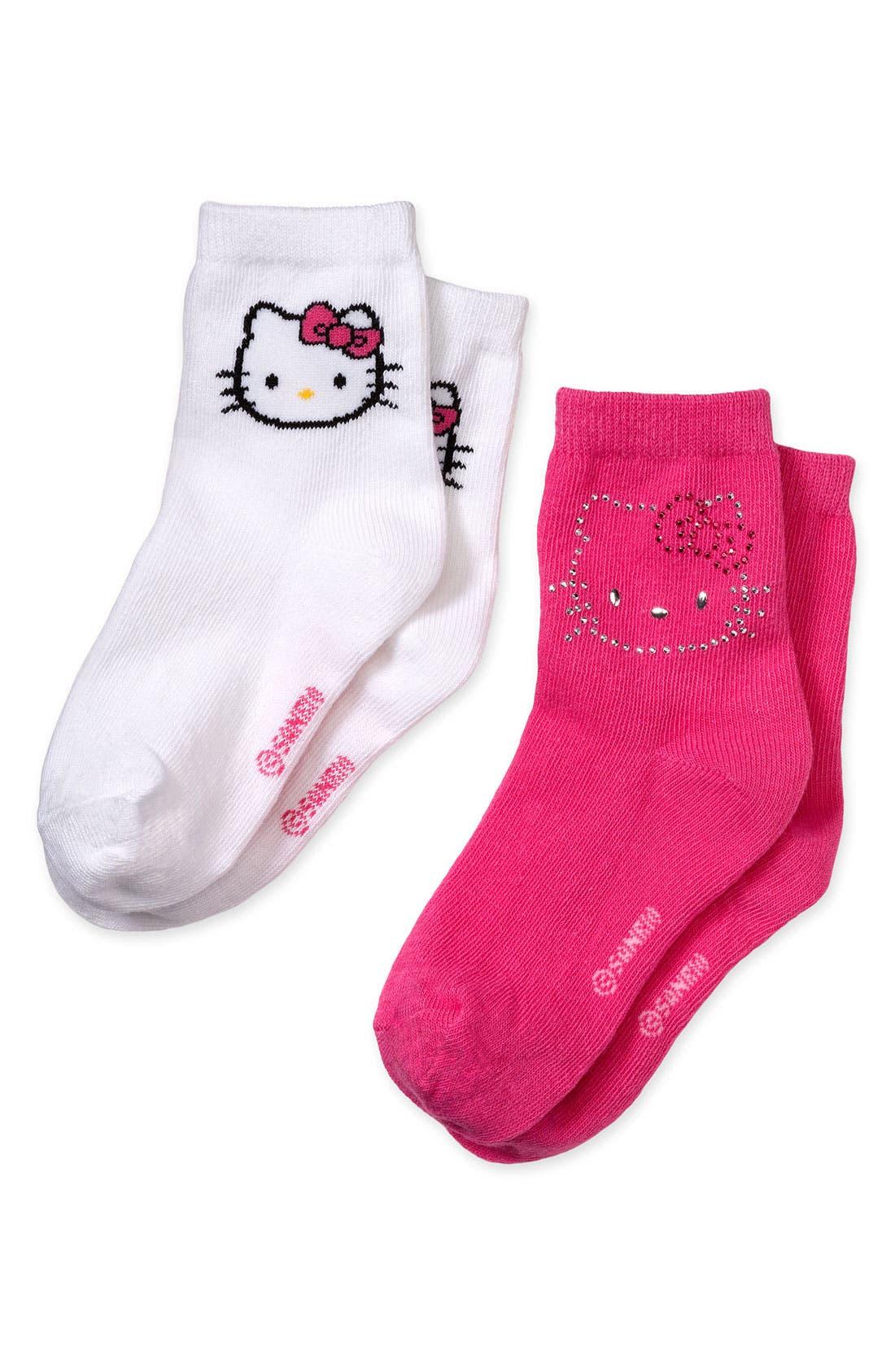 Alternate Image 1 Selected - Hello Kitty® 'Diamante' Socks (2-Pack) (Girls)