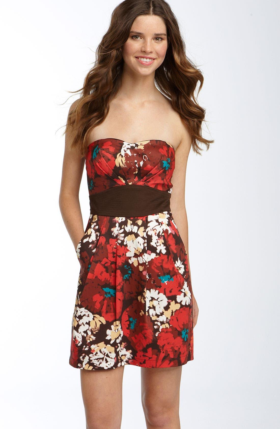 Main Image - Trixxi Strapless Floral Dress (Juniors)