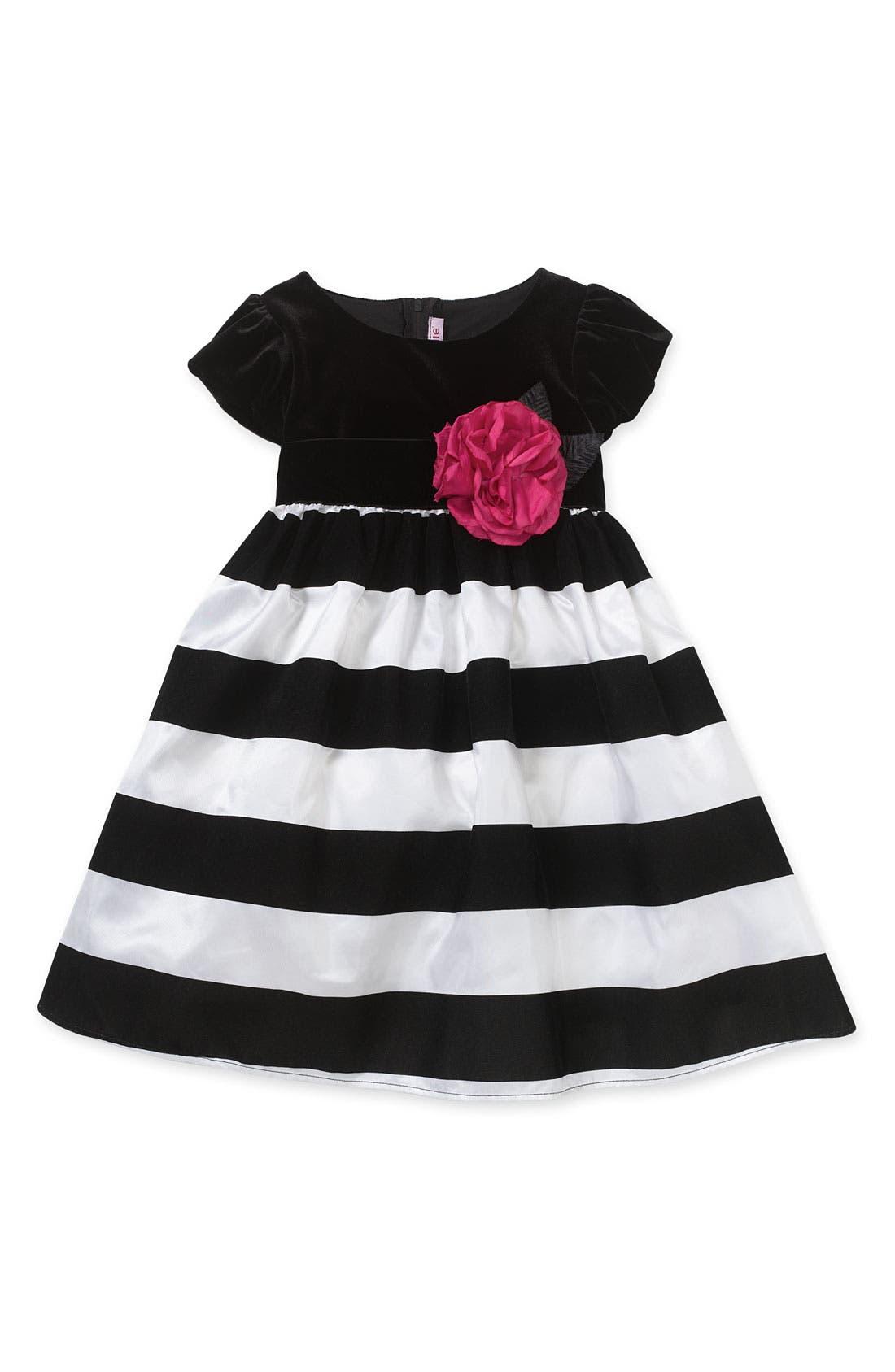 Main Image - Zunie Velvet Stripe Taffeta Dress (Little Girls)
