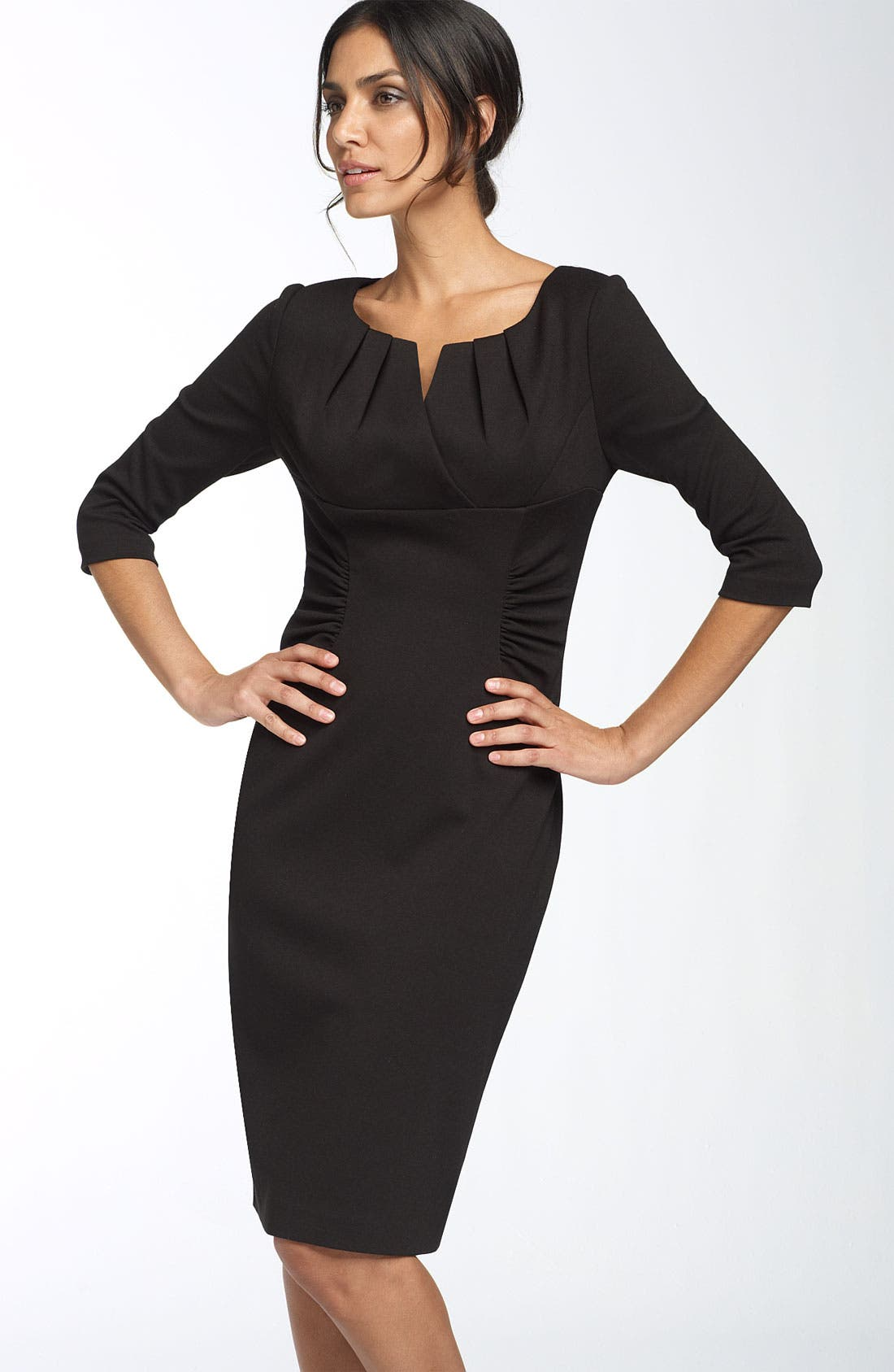 Main Image - Adrianna Papell Ruched Matte Jersey Sheath Dress