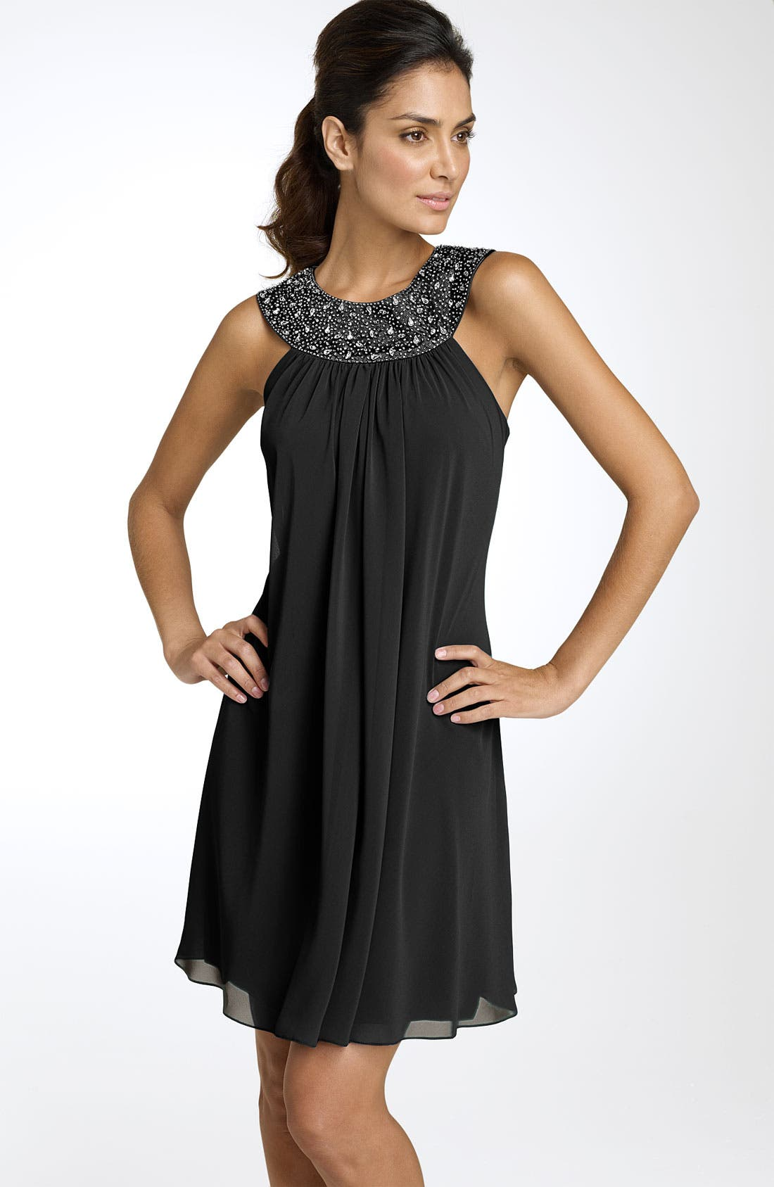 Main Image - JS Boutique Beaded Chiffon Trapeze Dress