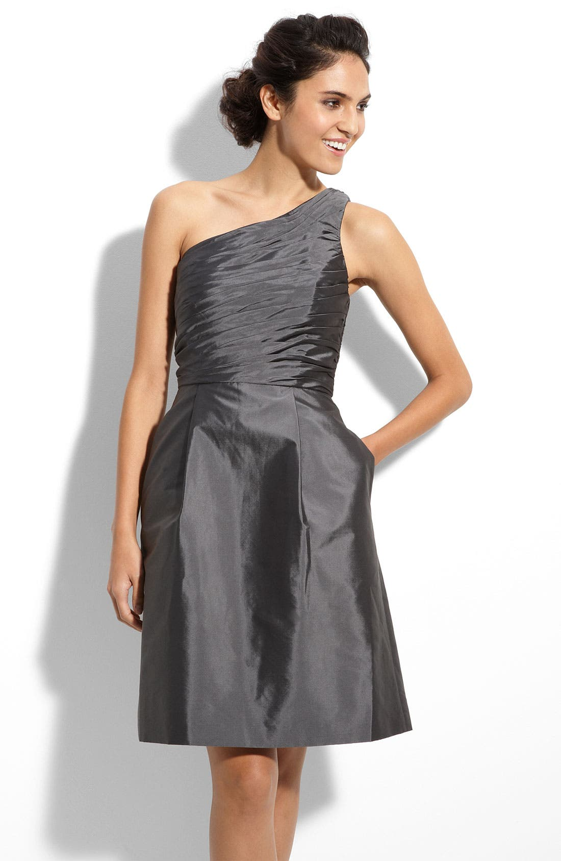 Alternate Image 1 Selected - ML Monique Lhuillier Bridesmaids One Shoulder Taffeta Dress