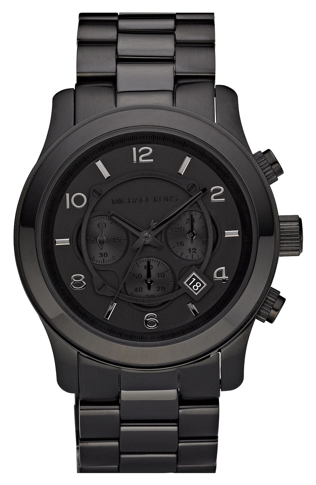 Main Image - Michael Kors 'Large Runway' Blacked Out Chronograph Watch, 45mm
