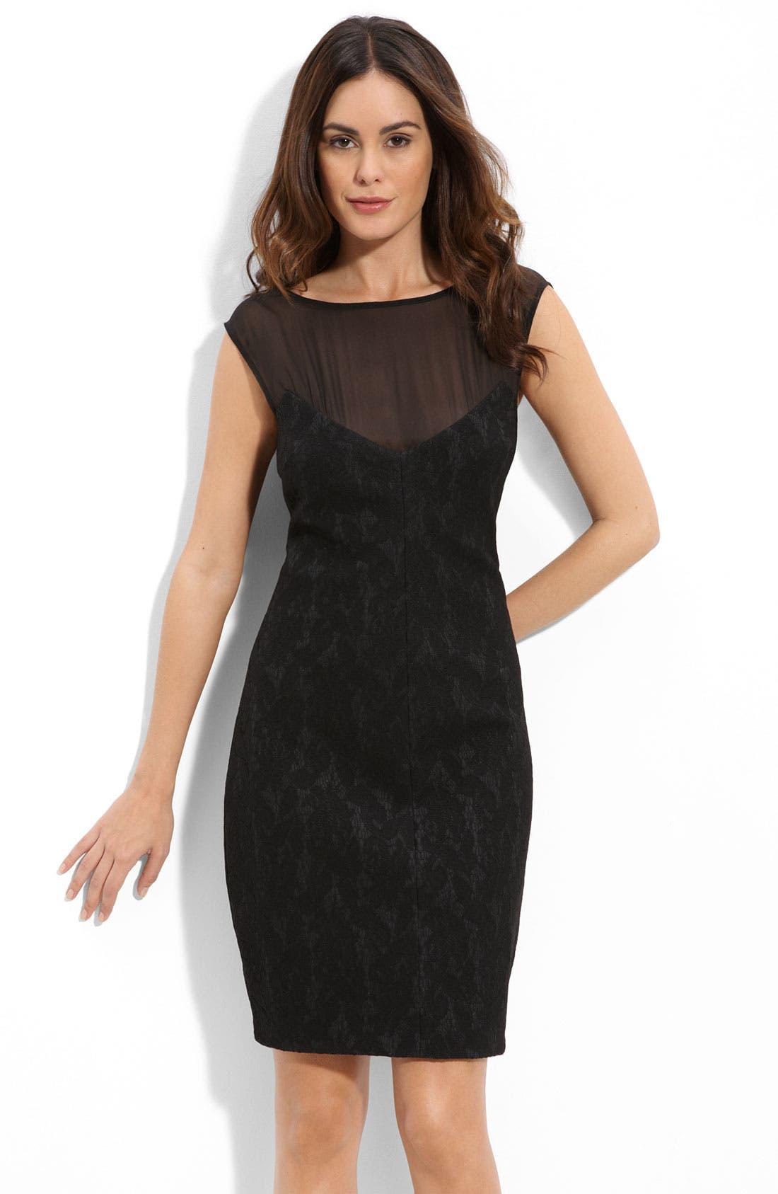 Alternate Image 1 Selected - Suzi Chin for Maggy Boutique Illusion Bodice Lace Sheath Dress (Petite)