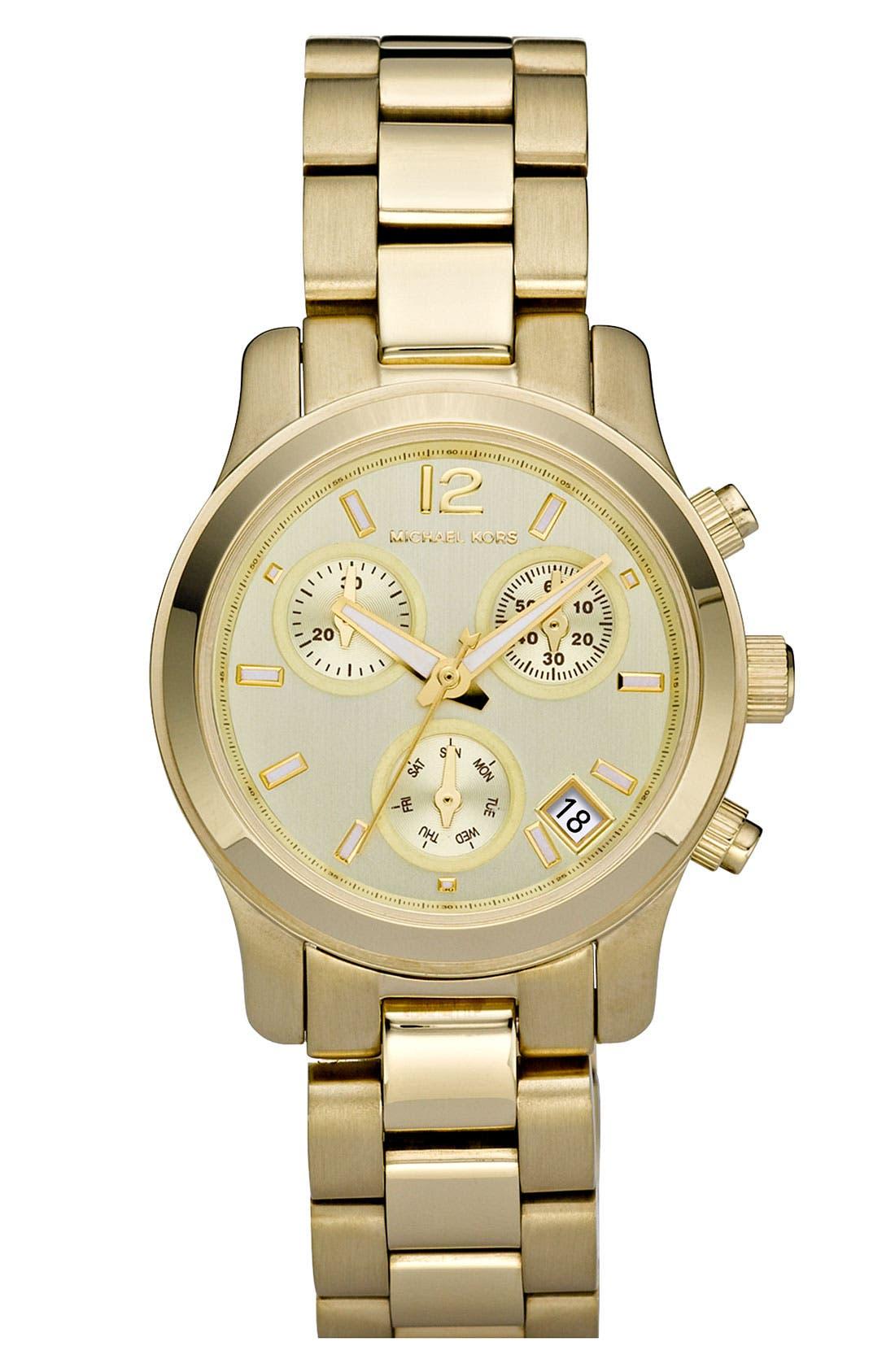 Alternate Image 1 Selected - Michael Kors 'Mini Runway' Chronograph Bracelet Watch, 33mm