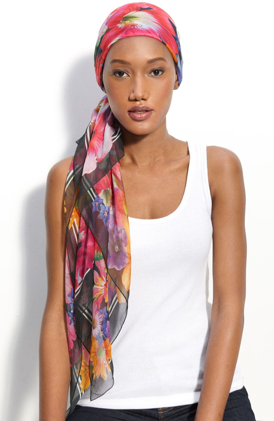 Main Image - Nordstrom 'Photo Floral' Square Silk Scarf
