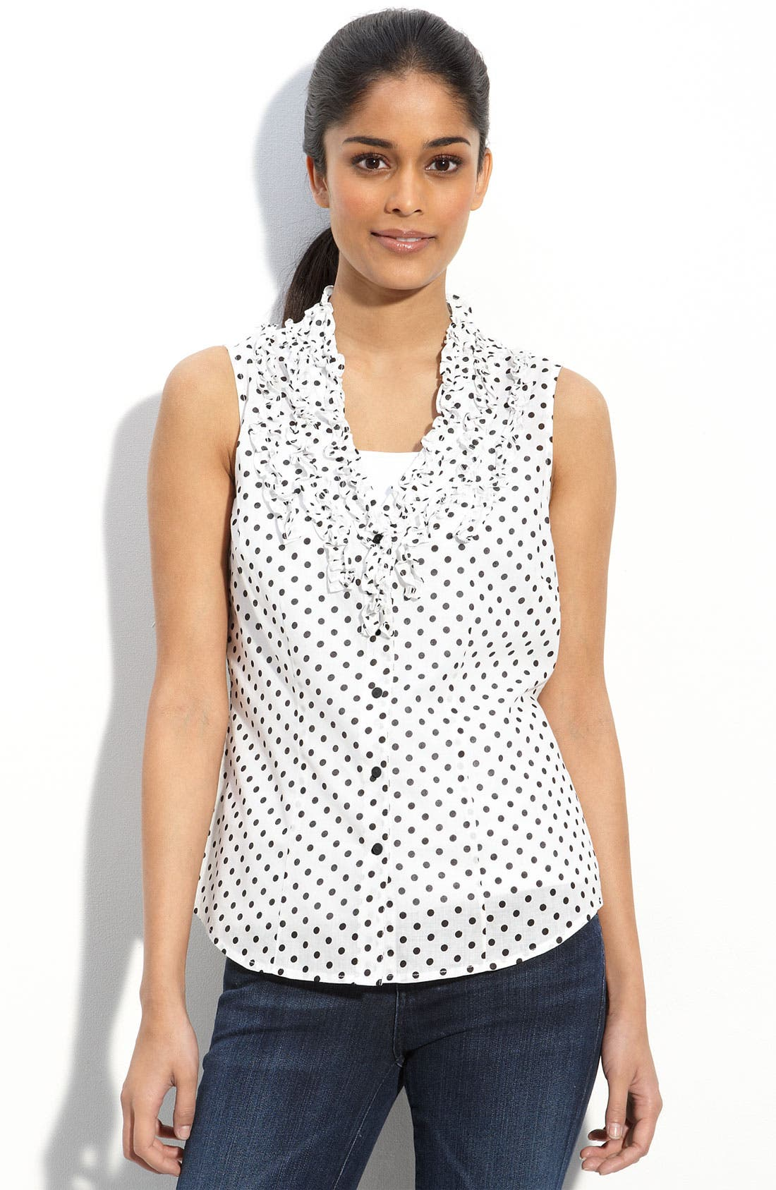 Alternate Image 1 Selected - Sandra Ingrish Ruffled Polka Dot Blouse