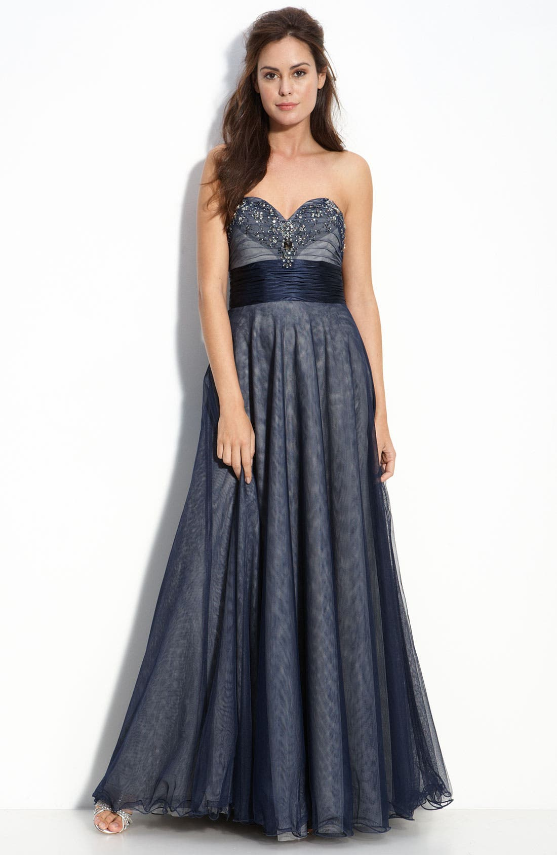 Alternate Image 1 Selected - Adrianna Papell Beaded Tulle Ball Gown