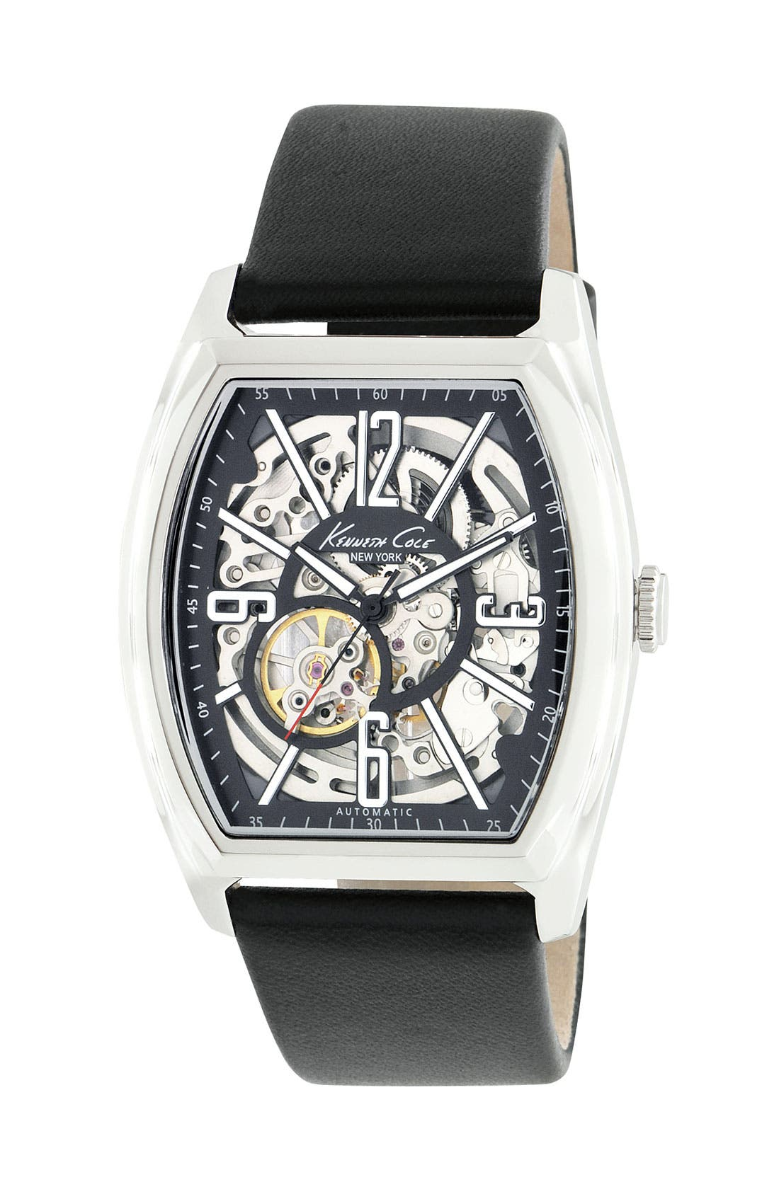 Main Image - Kenneth Cole New York Automatic Leather Strap Watch
