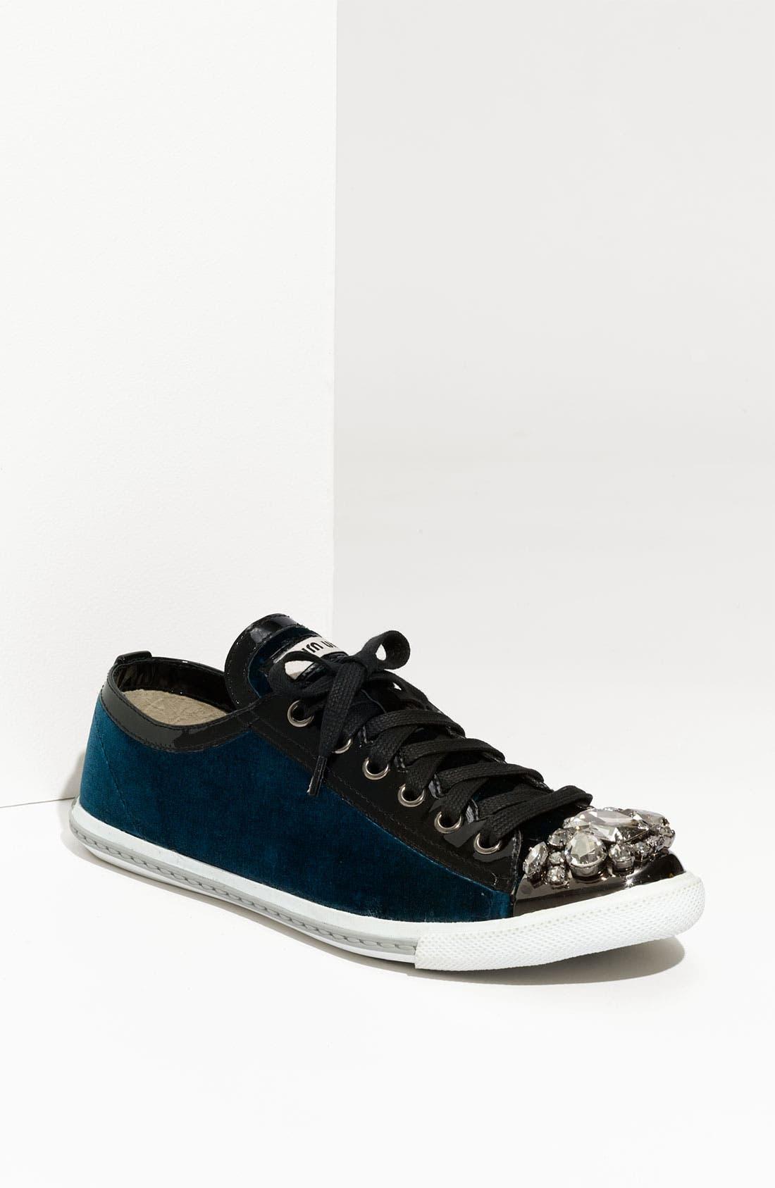 Alternate Image 1 Selected - Miu Miu Embellished Velvet Sneaker