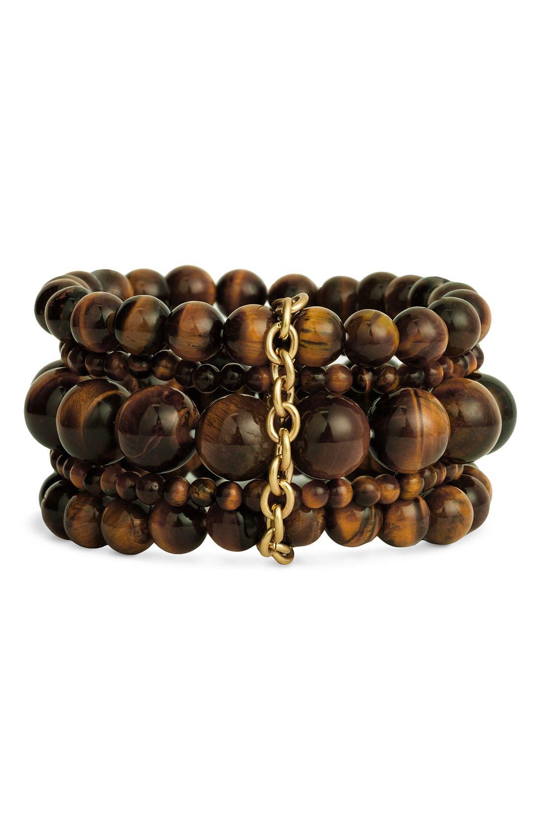Alternate Image 1 Selected - Nordstrom Semiprecious Bead Stretch Bracelets (Set of 5)