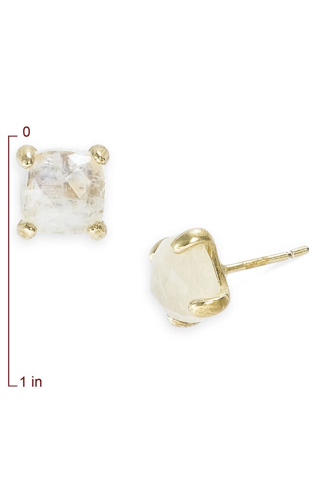 Alternate Image 2  - NuNu Designs Square Semiprecious Stud Earrings