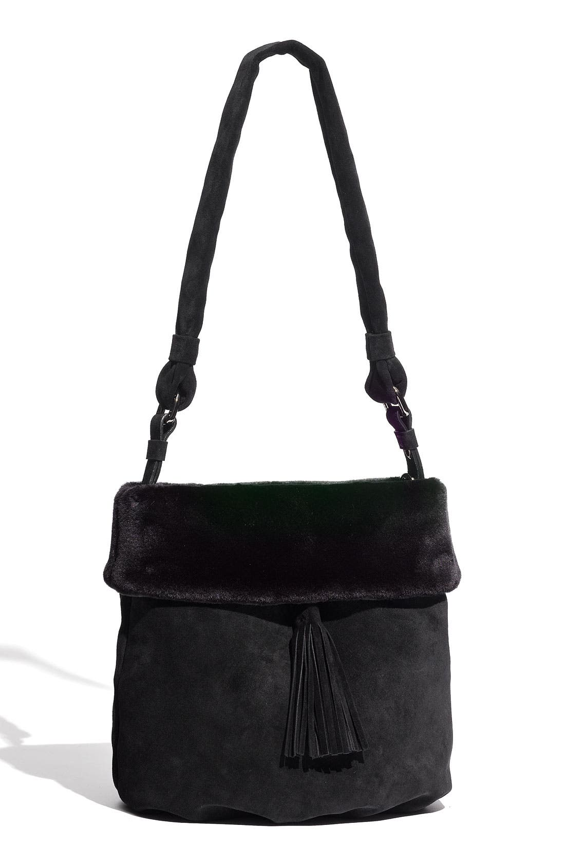 Main Image - Stuart Weitzman Faux Fur Trim Shoulder Bag