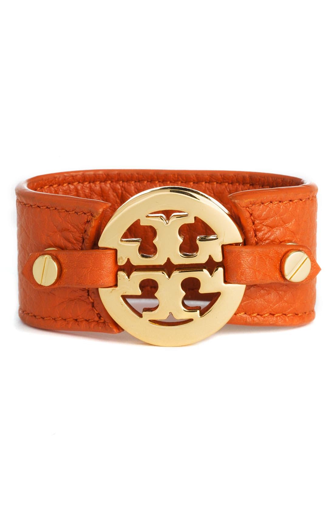 Alternate Image 1 Selected - Tory Burch Leather Logo Buckle Bracelet