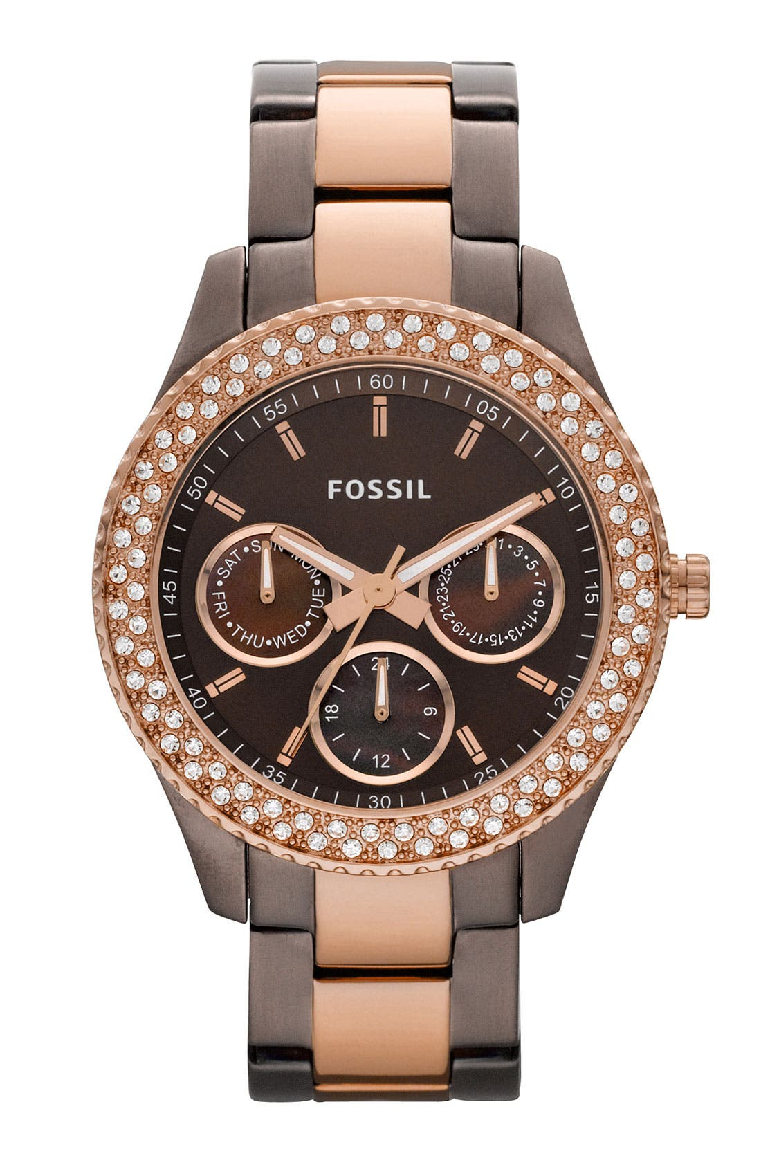 Alternate Image 1 Selected - Fossil 'Stella' Crystal Topring Multifunction Watch