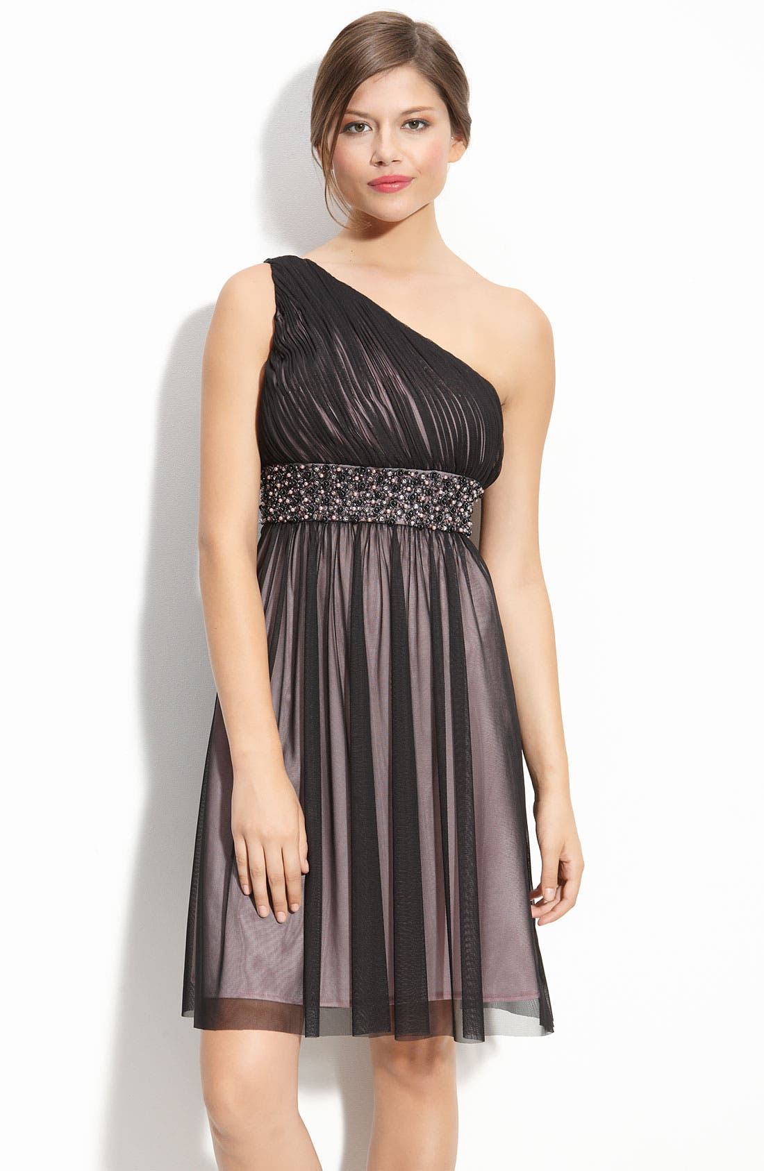 Alternate Image 1 Selected - JS Boutique Beaded Ruched Mesh Dress