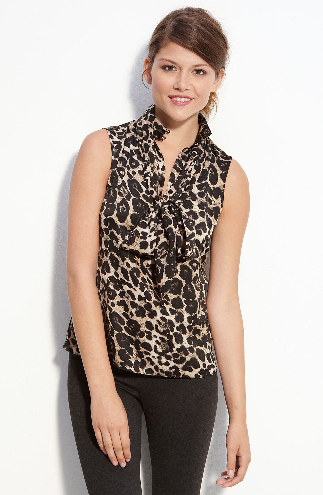 Alternate Image 1 Selected - Vince Camuto Sleeveless Tie Neck Print Blouse