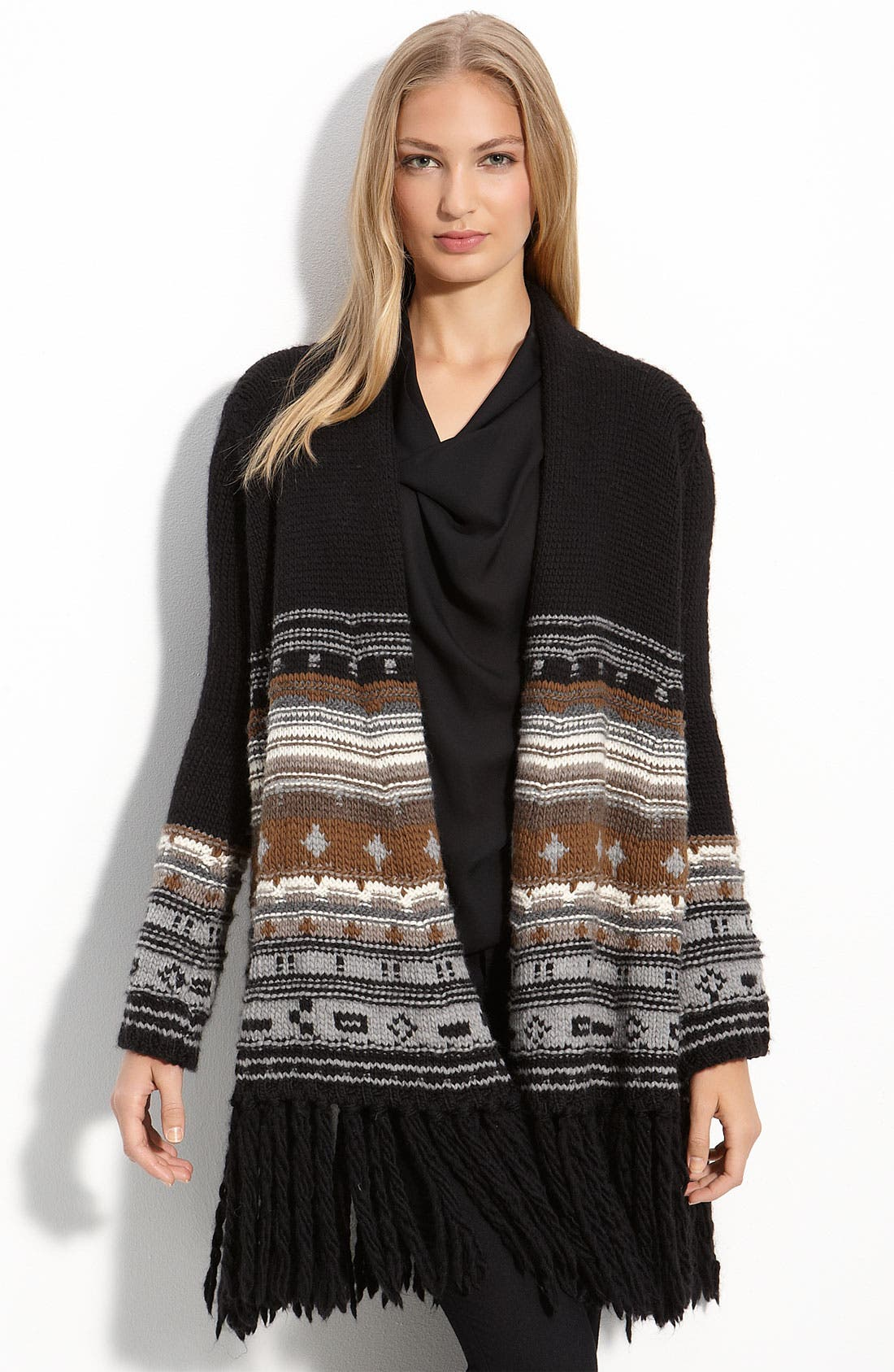 Alternate Image 1 Selected - Haute Hippie Fringed Jacquard Cardigan