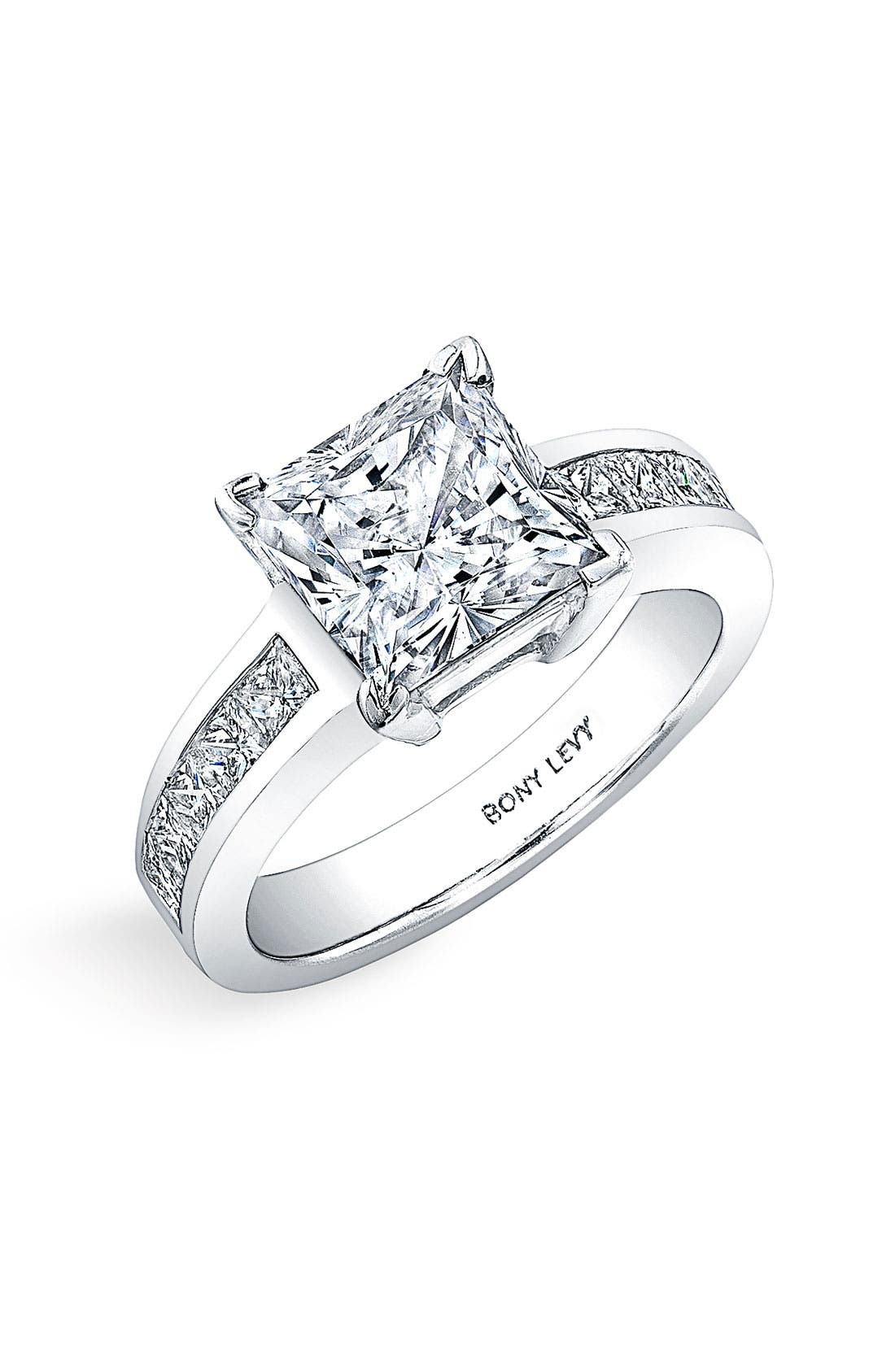 Main Image - Bony Levy Princess Cut Diamond Engagement Ring Setting (Nordstrom Exclusive)