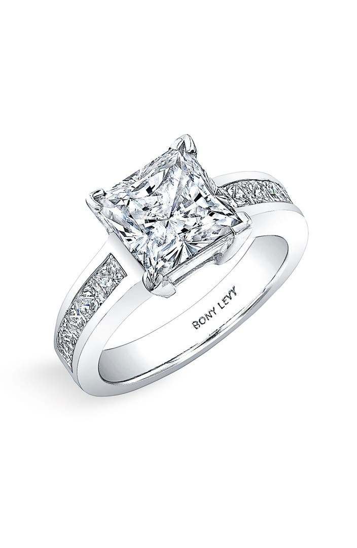 Bony levy princess cut diamond engagement ring setting for Nordstrom wedding rings