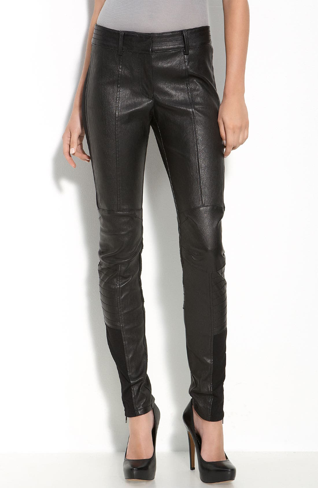 Main Image - Leith Leather Moto Leggings
