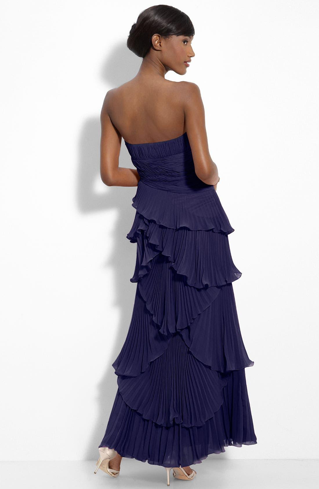 Alternate Image 2  - Dalia MacPhee Tiered Pleat Chiffon Gown