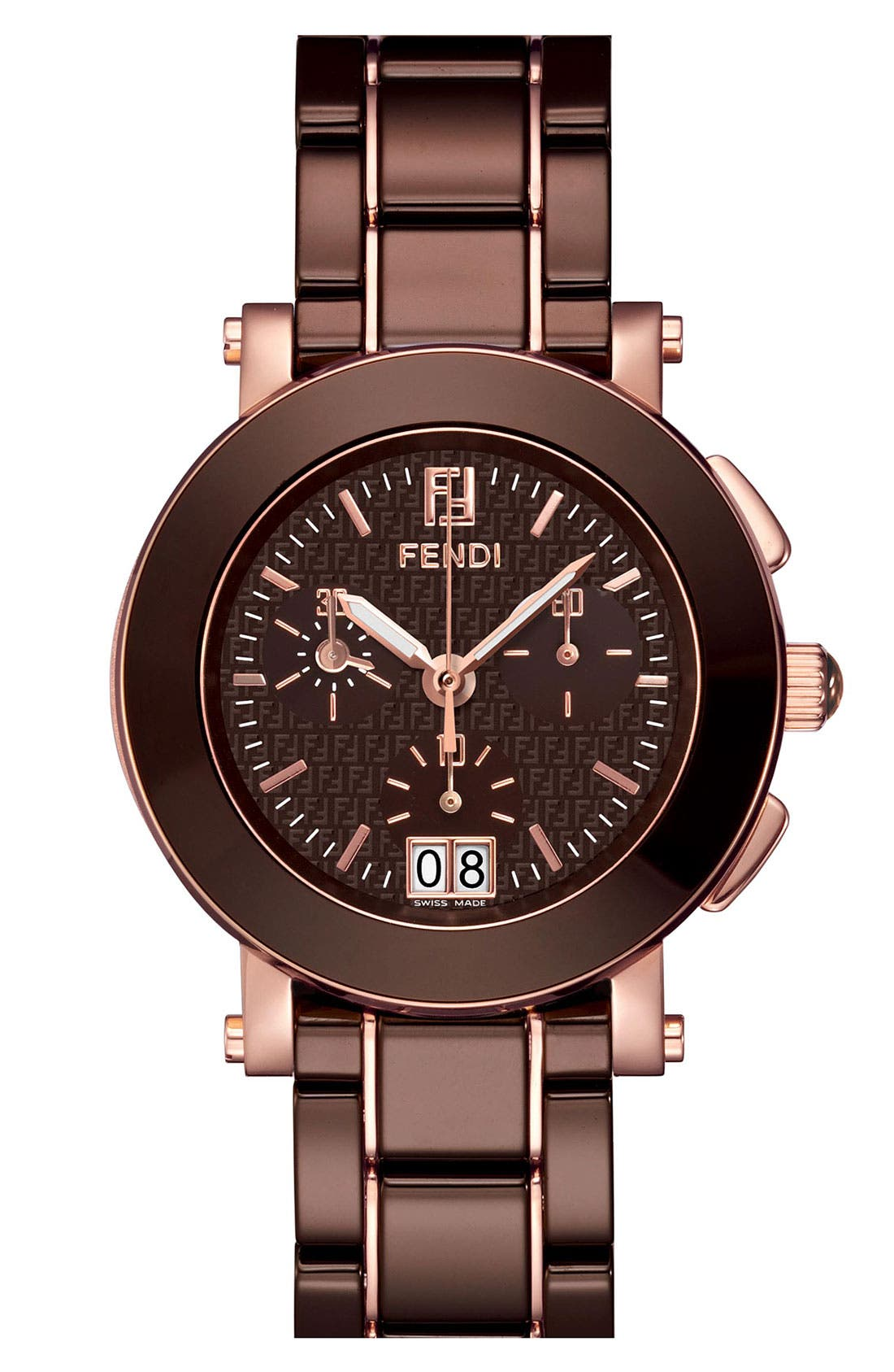 Main Image - Fendi Large Ceramic Chronograph Watch