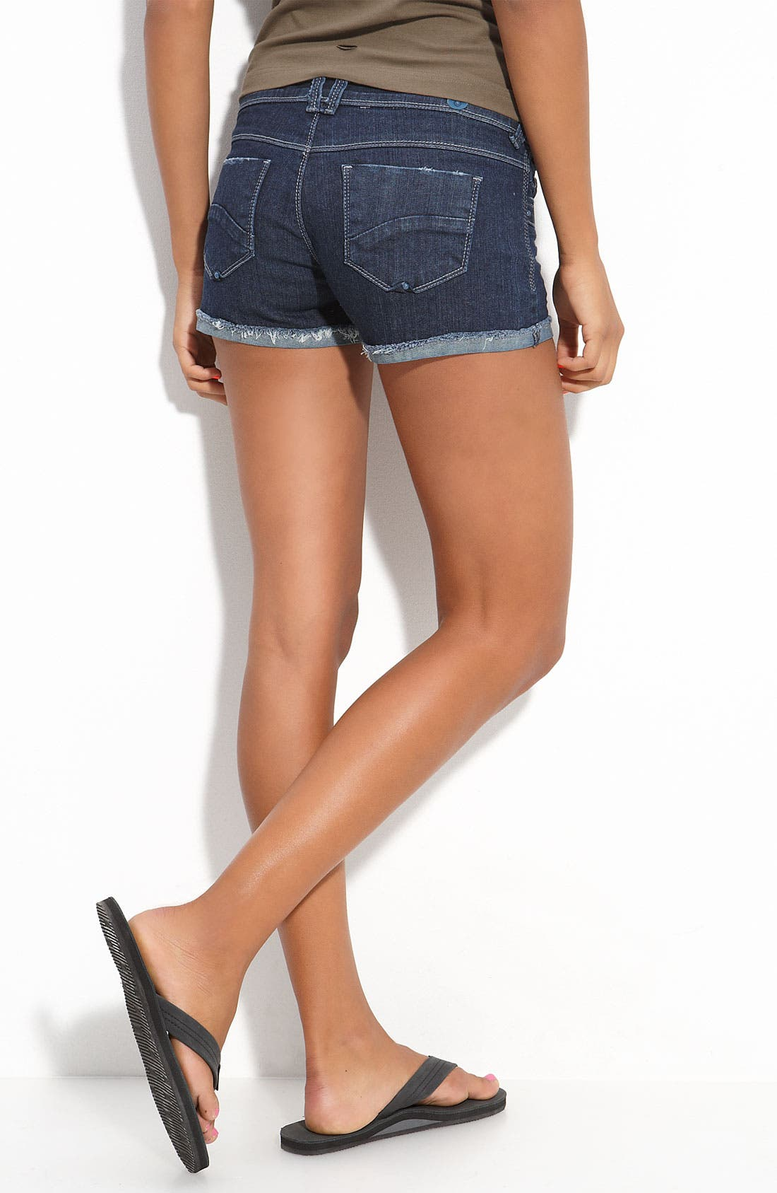Main Image - STS Blue Frayed Cuff Denim Shorts (Juniors)