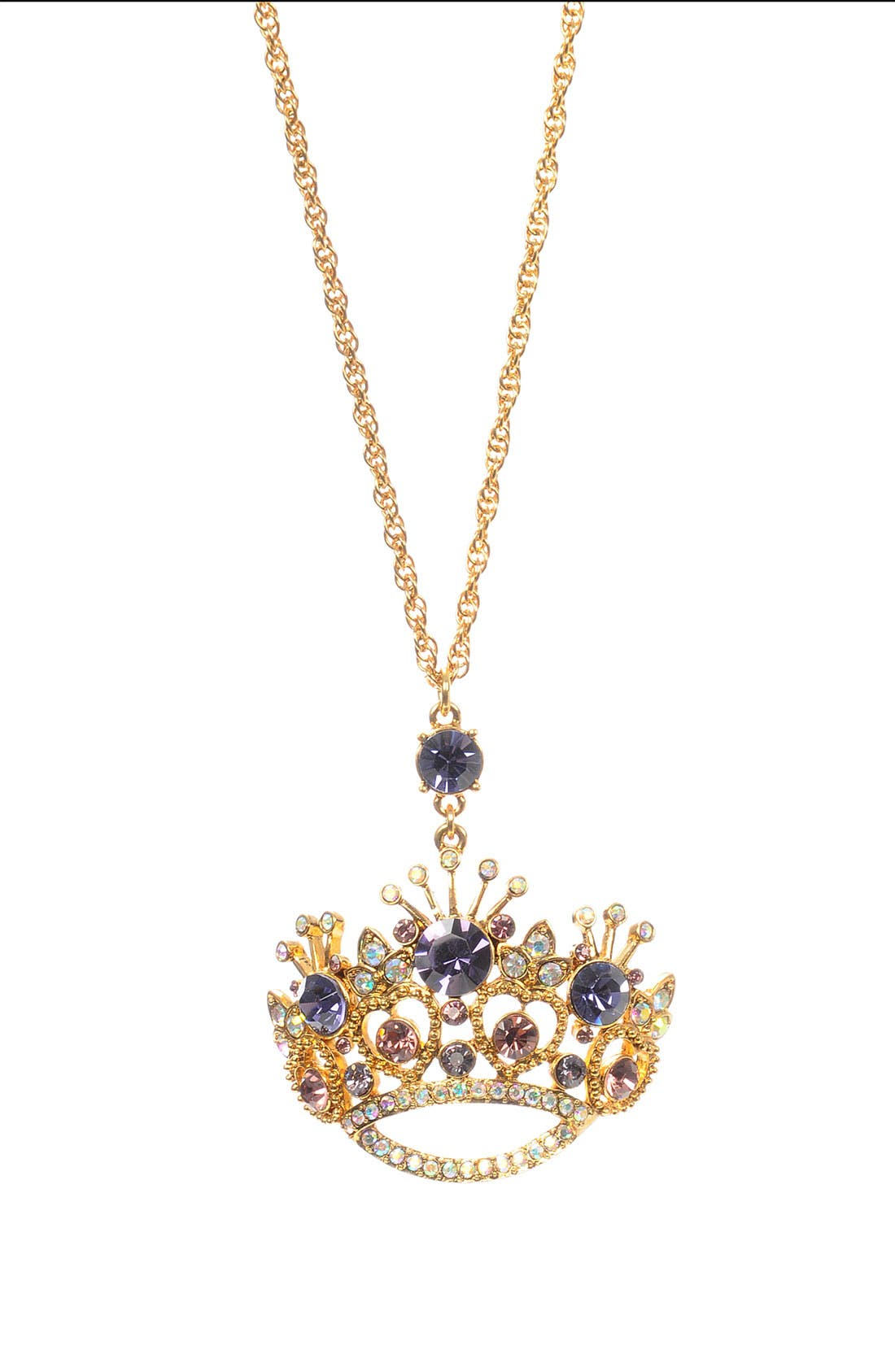 Main Image - Betsey Johnson 'Tzar' Crown Statement Pendant Long Necklace