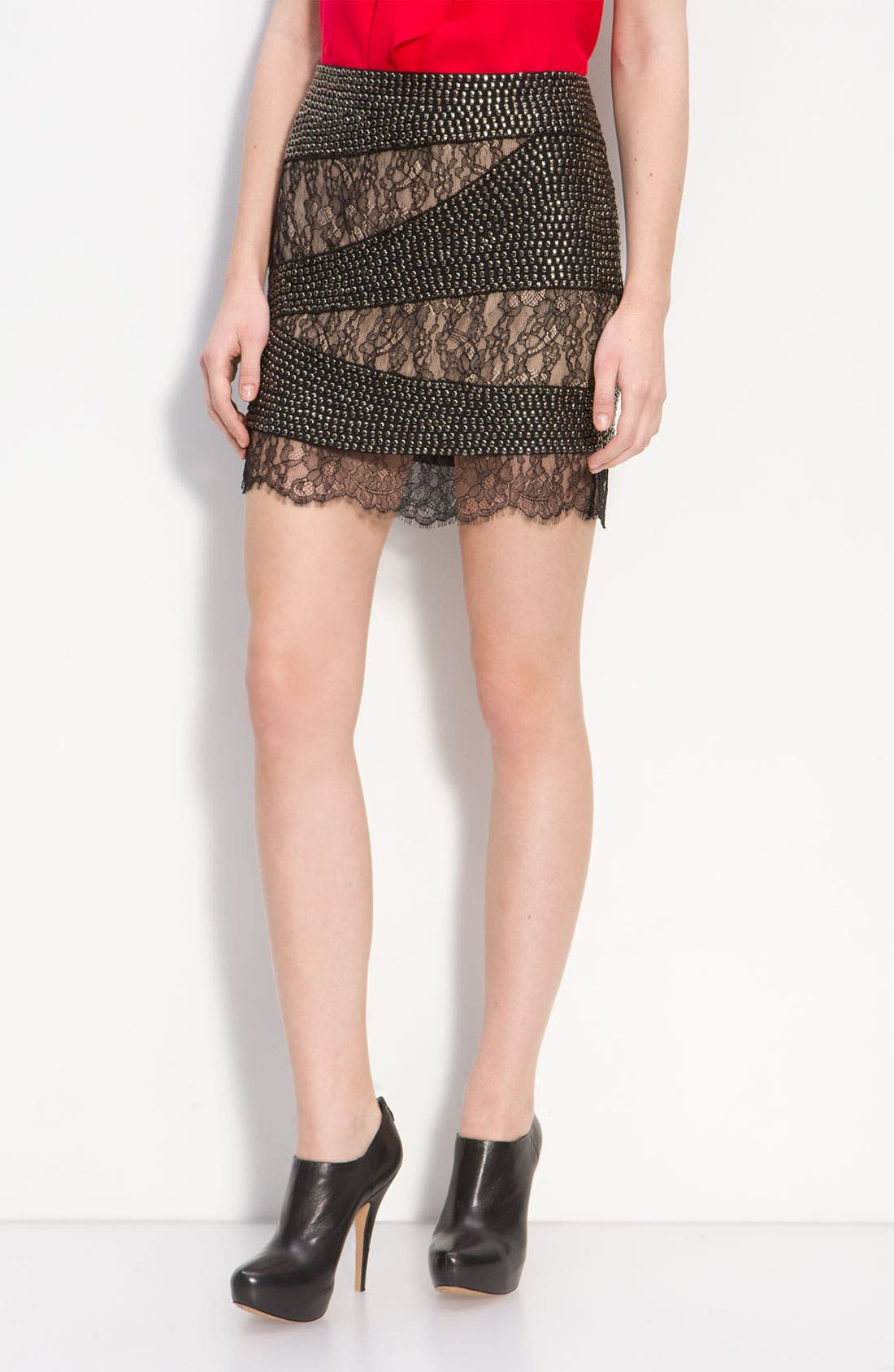 Main Image - Haute Hippie Studded Lace Mini Skirt