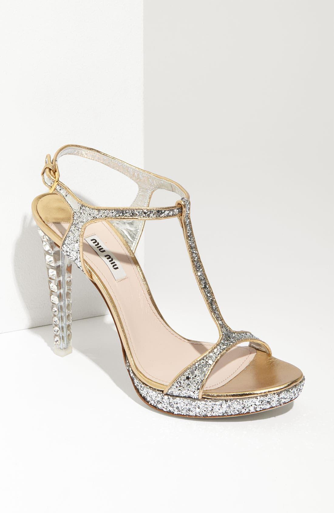 Main Image - Miu Miu Glitter T-Strap Platform Sandal