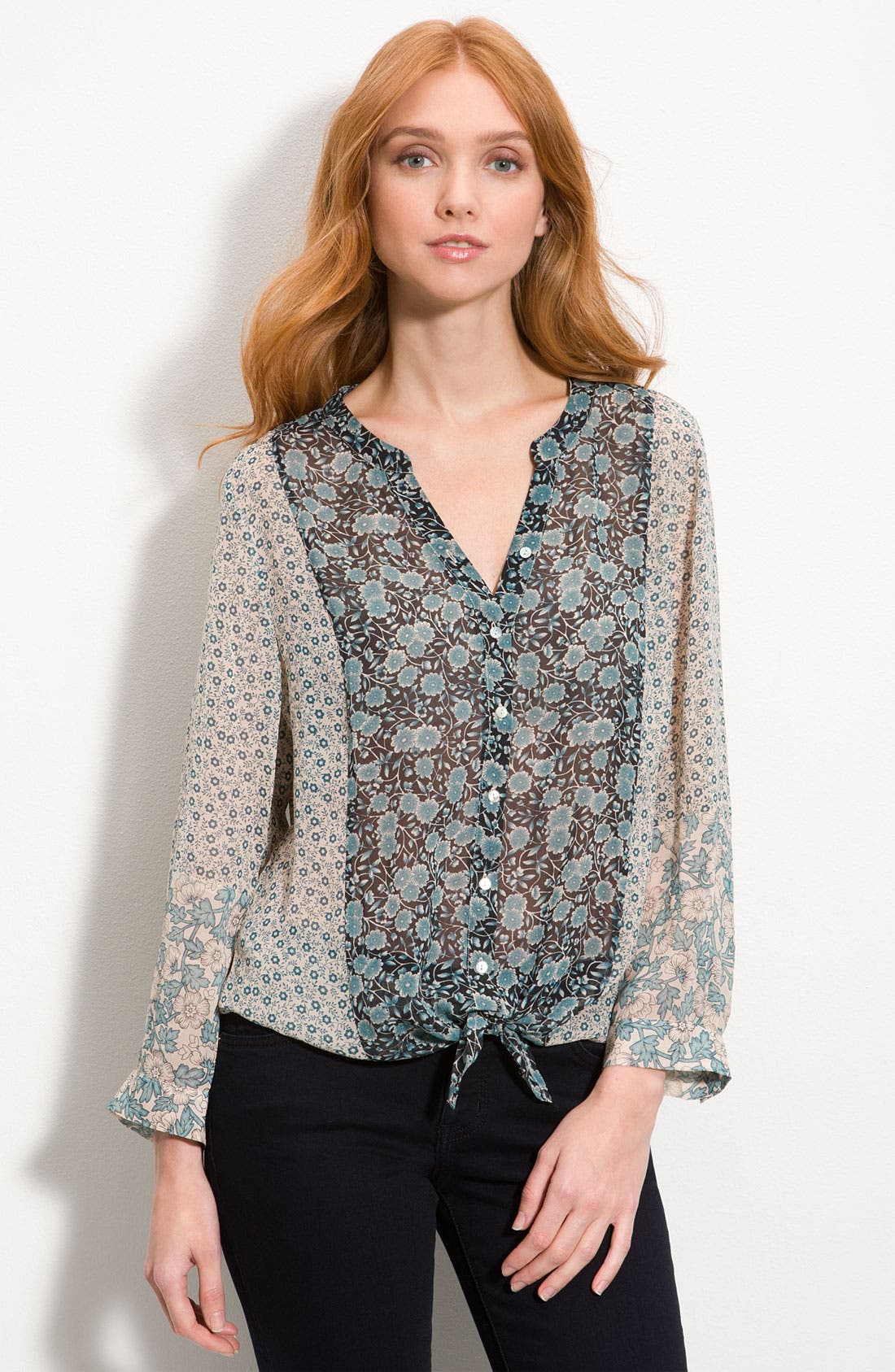 Alternate Image 1 Selected - Joie 'Edaline' Tie Front Silk Blouse