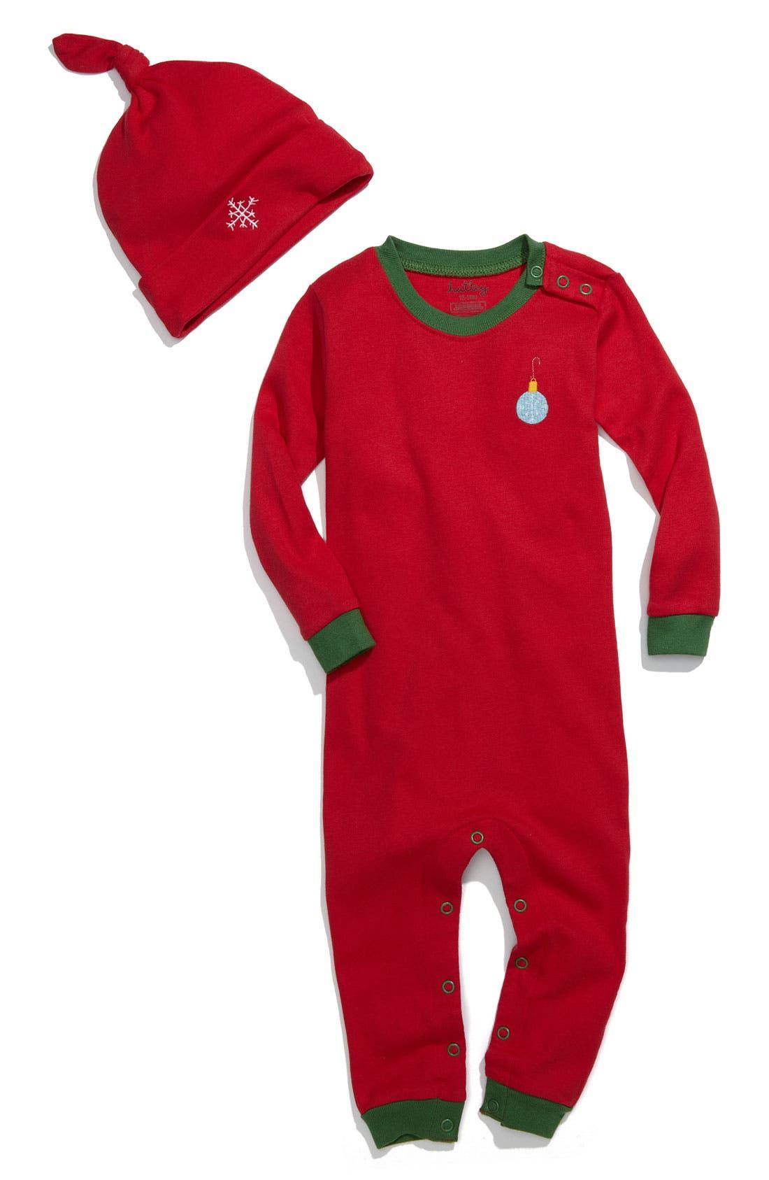 Alternate Image 1 Selected - Hatley Fitted Romper & Hat Set (Infant)