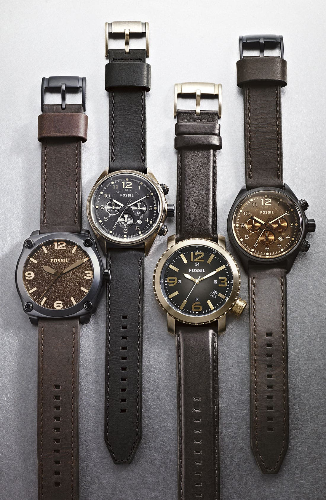 Alternate Image 2  - Fossil Chronograph Leather Strap Watch