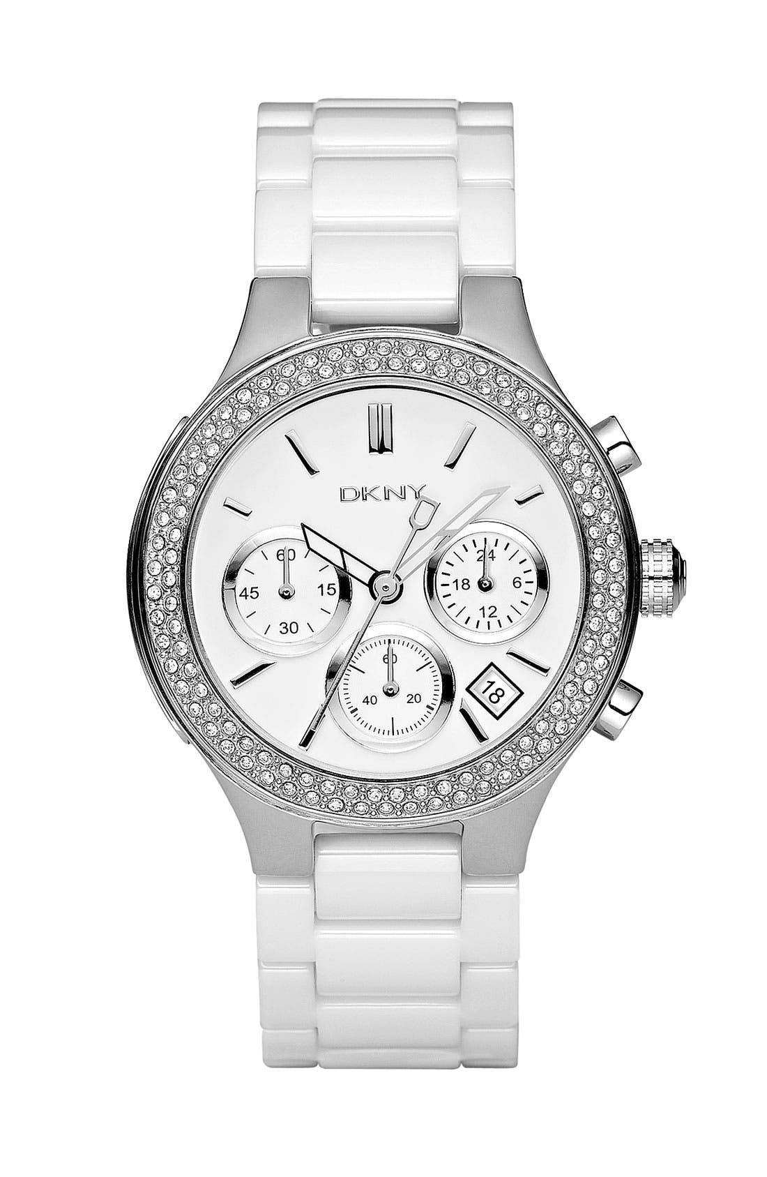 Main Image - DKNY Ceramic Crystal Bezel Bracelet Watch