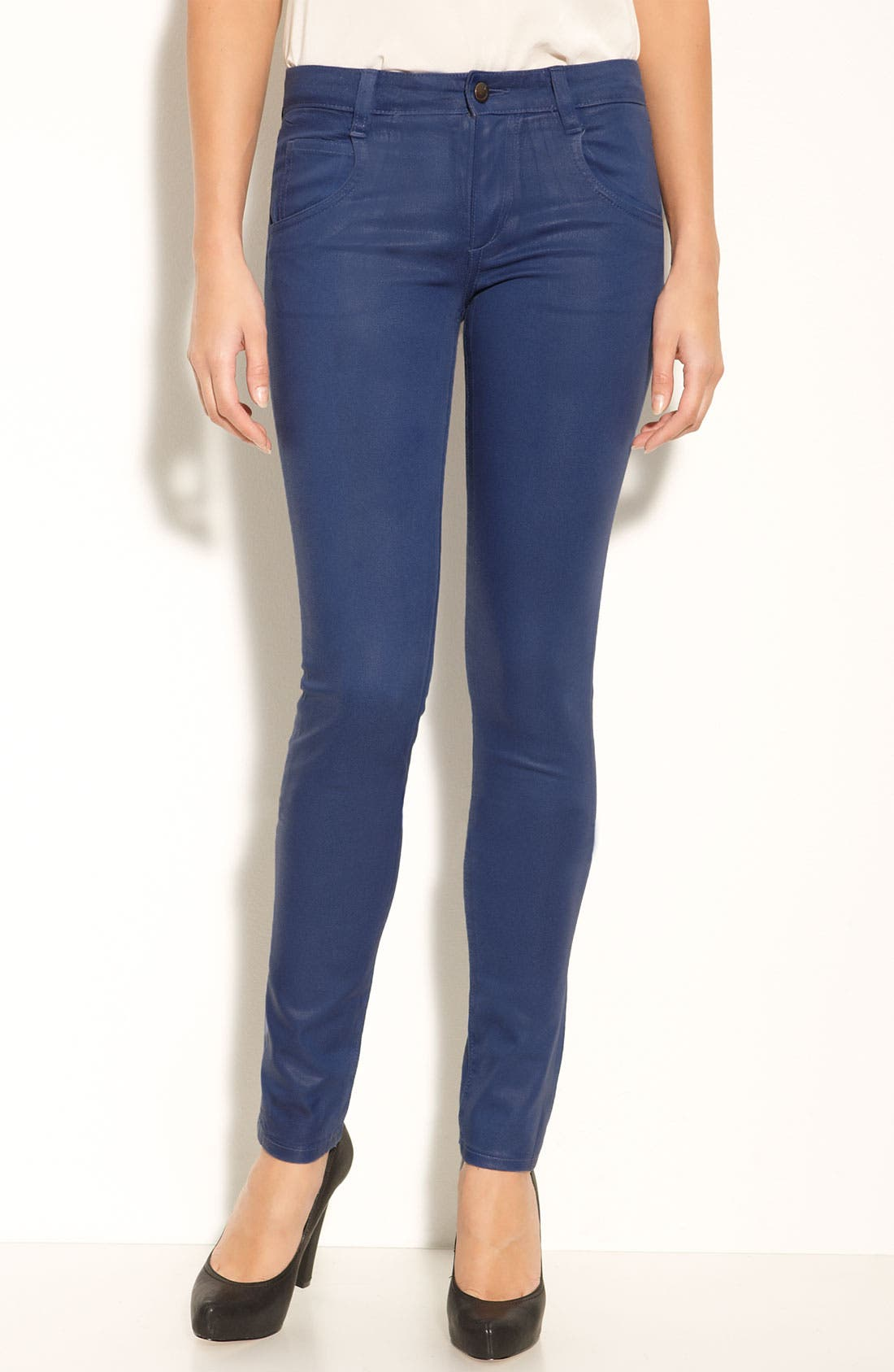 Alternate Image 2  - Joe's Coated Skinny Stretch Jeans (Royal Blue Wash)