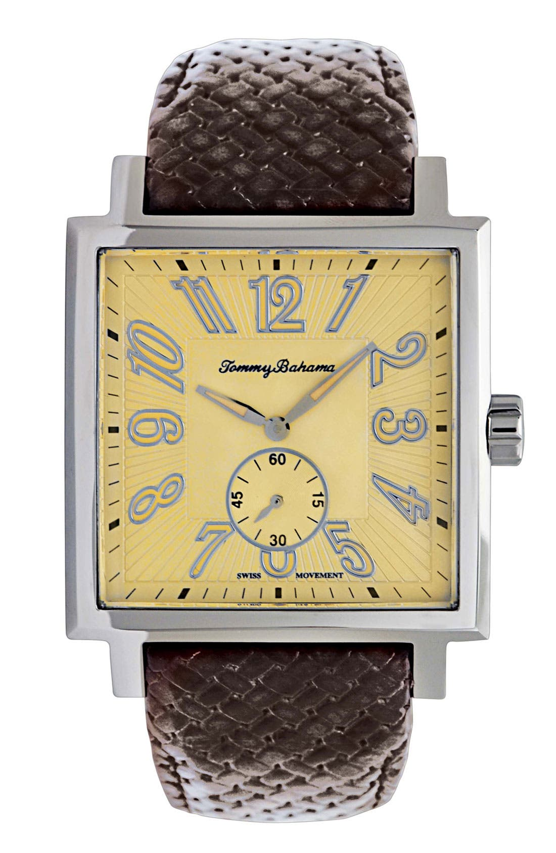 Main Image - Tommy Bahama 'Palms' Square Leather Strap Watch
