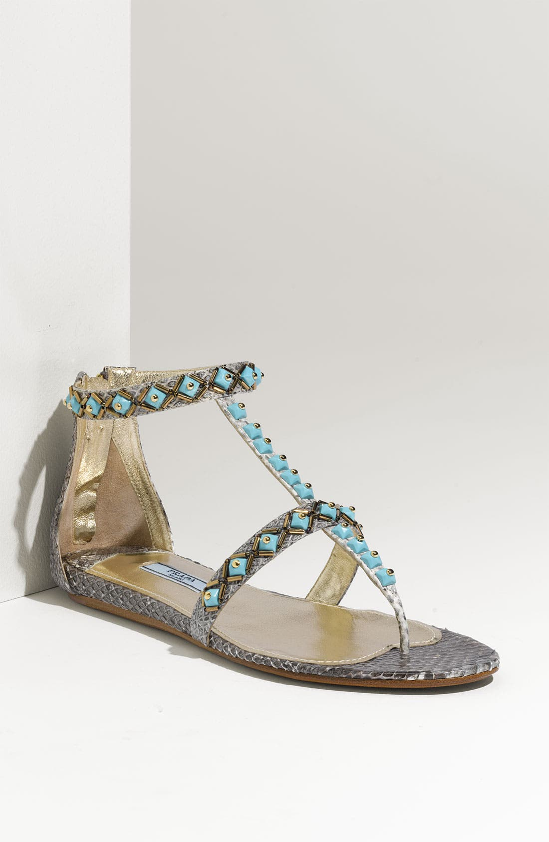Main Image - Prada Faux Turquoise Trim Genuine Snakeskin Sandal