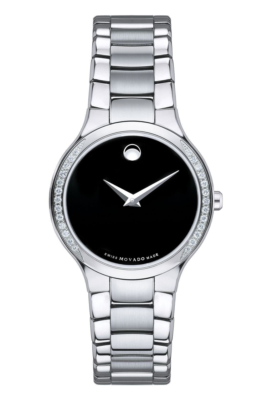 Alternate Image 1 Selected - Movado 'Serio' Black Dial Diamond Bracelet Watch, 26mm