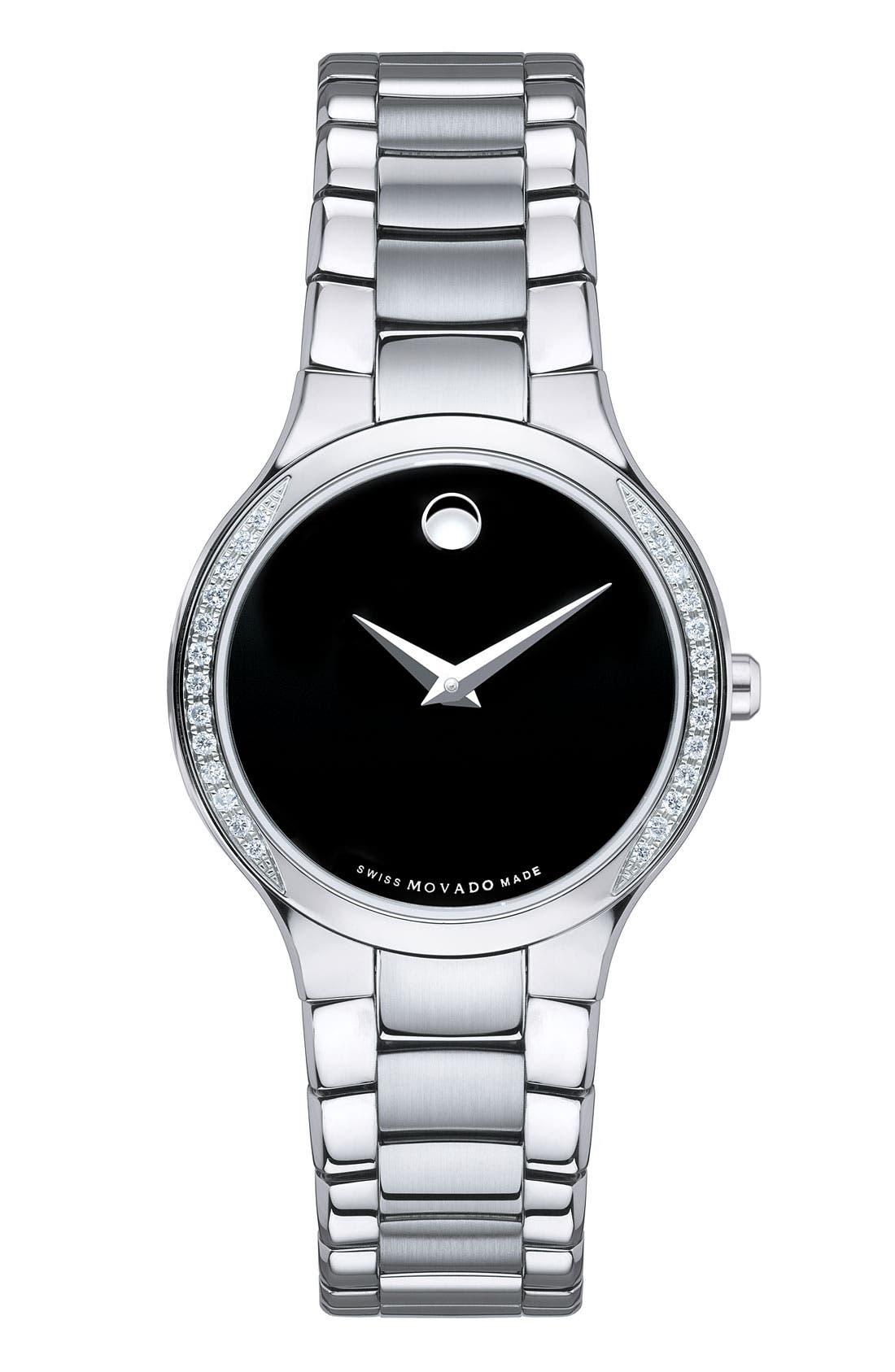 Main Image - Movado 'Serio' Black Dial Diamond Bracelet Watch, 26mm
